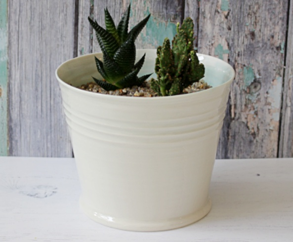 hand thrown porcelain indoor plant pot