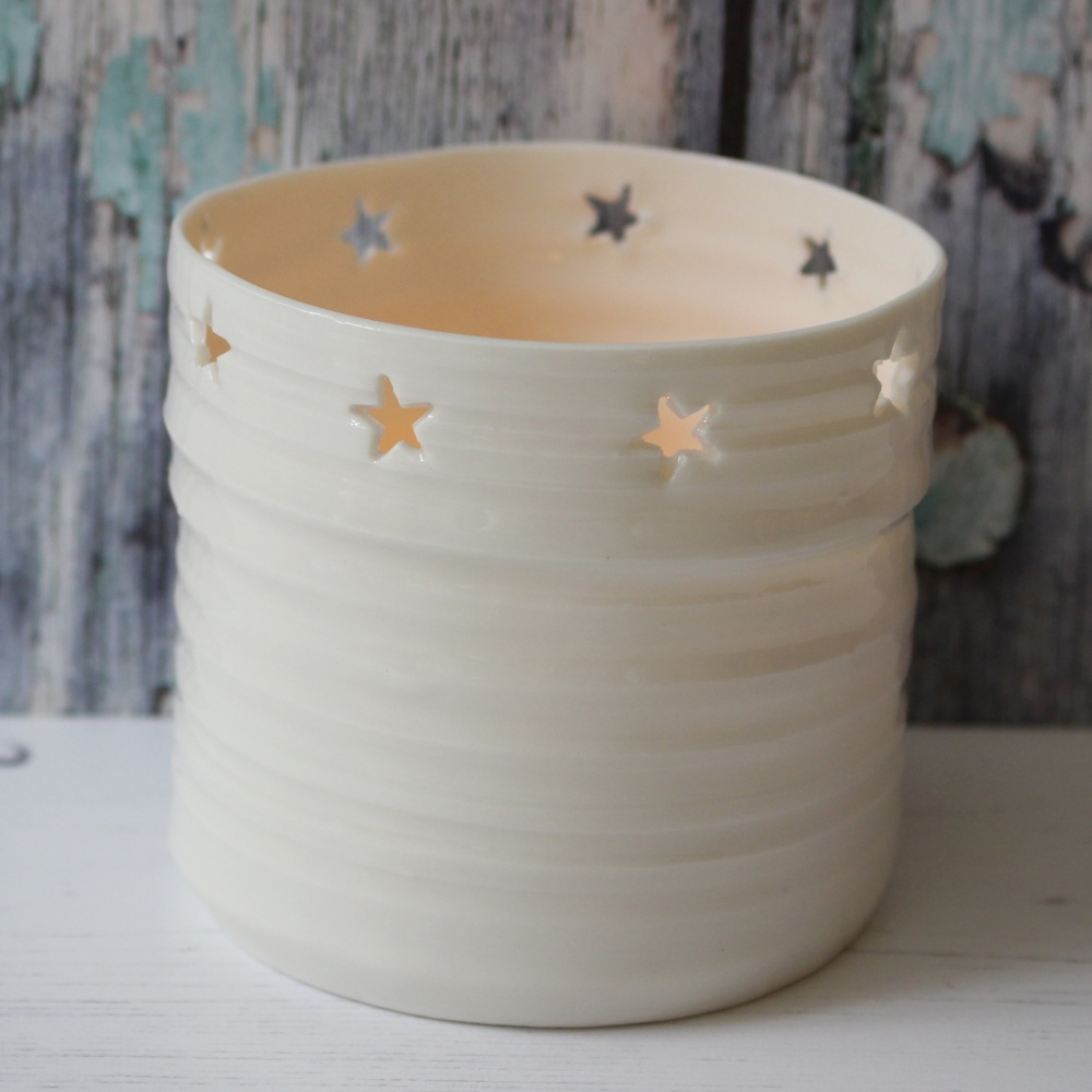 star handmade porcelain candle holder