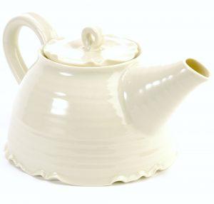 hand thrown porcelain tea pot with cream glaze