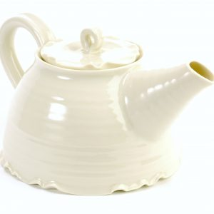 hand thrown porcelain tea pot with cream glaze