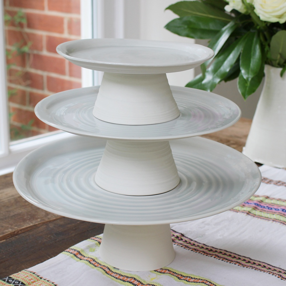 Porcelain thrown Cake stand trio