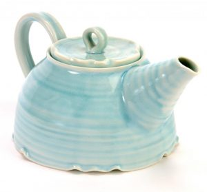 hand thrown porcelain tea pot in turquoise
