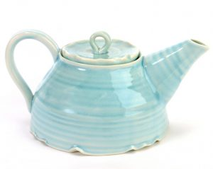 hand thrown tea pot in turquoise glaze