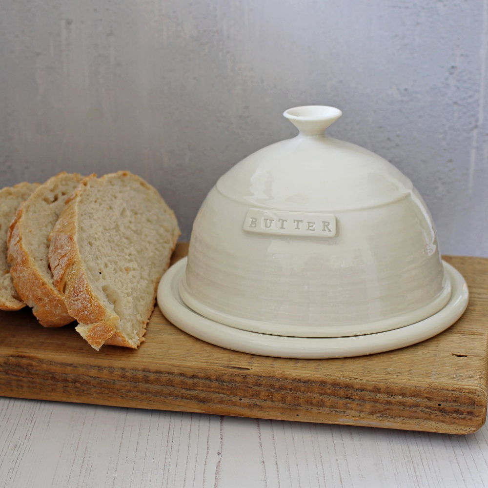 hand thrown porcelain butter dish dome