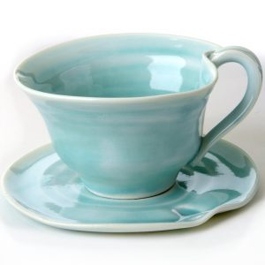 hand thrown turquoise tea cup and saucer