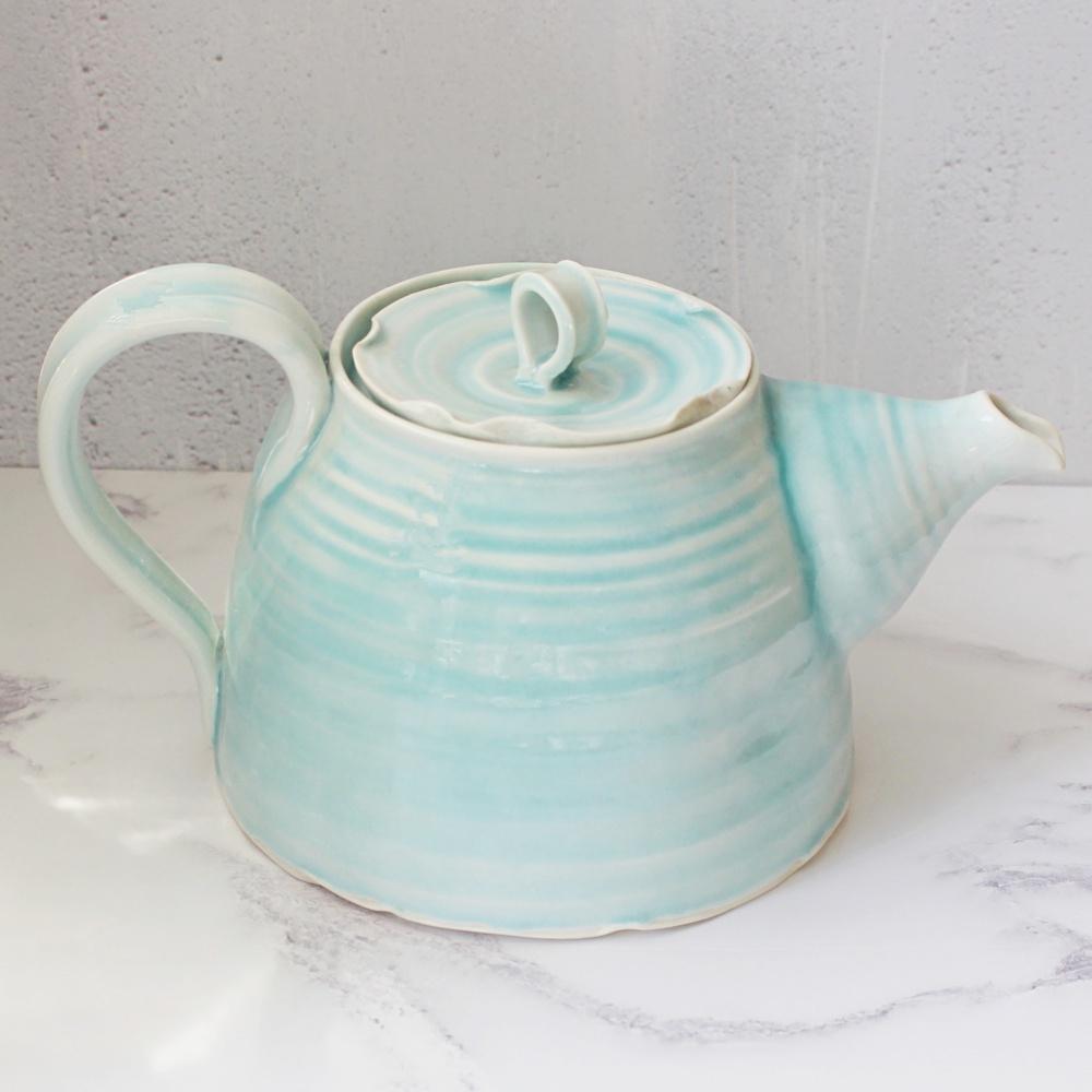 Turquoise hand thrown porcelain tea pot