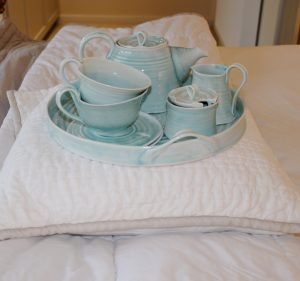 Hand Thrown Porcelain tea set in Turquoise glaze