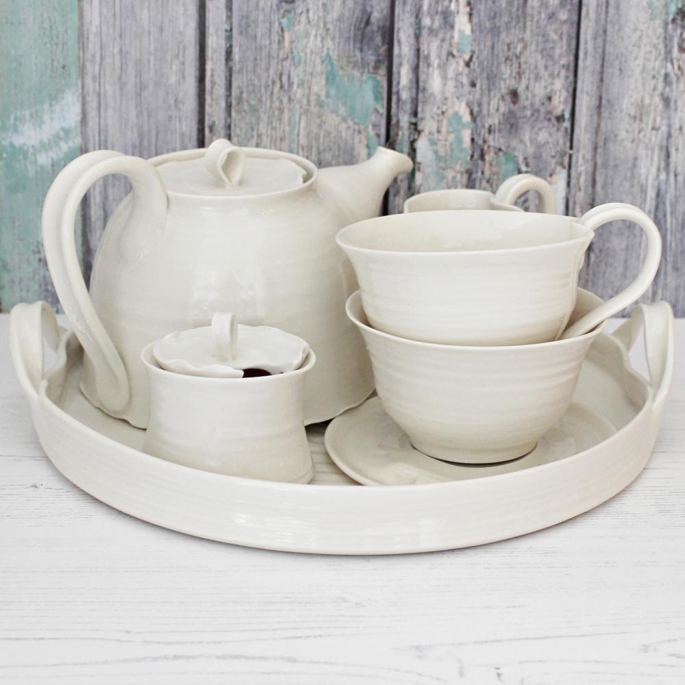 Satin cream hand thrown porcelain tea set