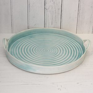 porcelain hand thrown circular serving tray