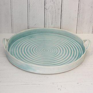 porcelain hand thrown circular serving tray