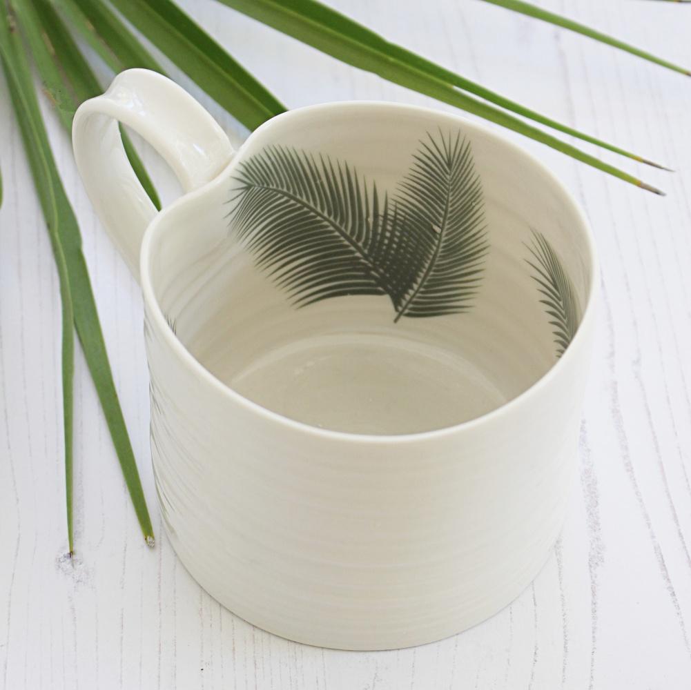 palm leaf design mug
