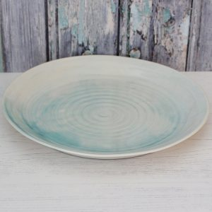 Porcelain hand thrown dinner plate
