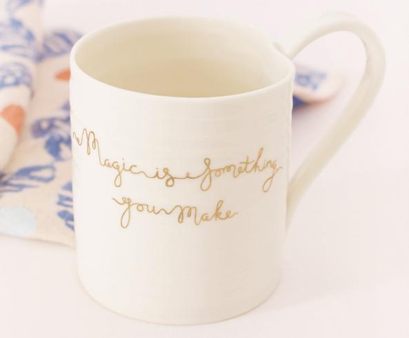 mug gift gold script