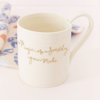 porcelain fine china mug with gold script